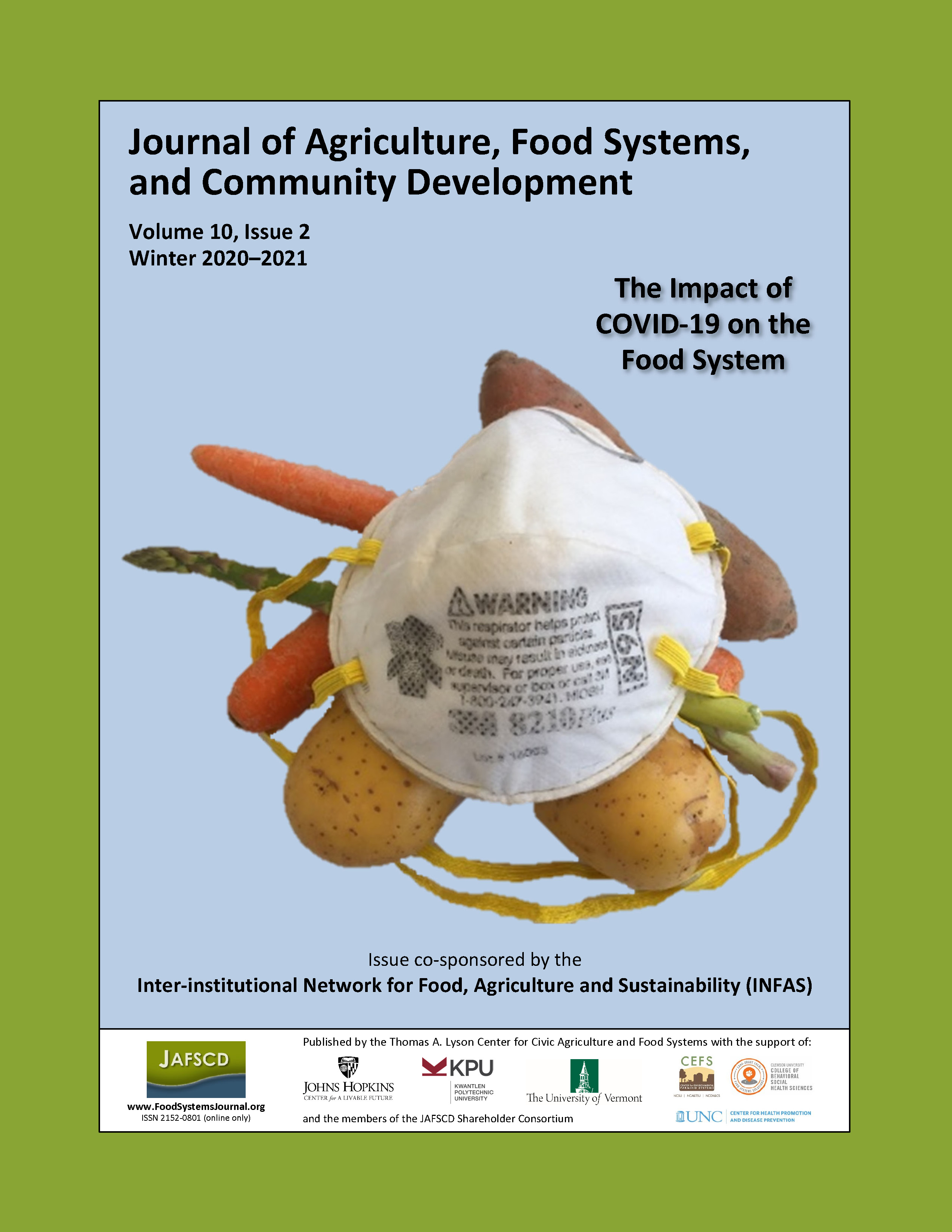 """Cover of winter 2020-2021 issue, """"The impact of COVID-19 on the food system"""""""