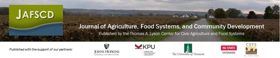 Journal of Agriculture, Food Systems, and Community Development