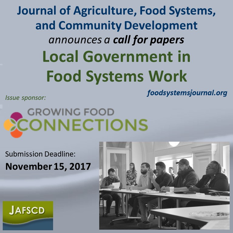 Call for Papers: Local Government in Food Systems Work
